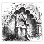 Decorated Arch and Piscina sacrarium basin placed near the altar of a church used for washing the communion vessels often made of stone fitted vintage line drawing or engraving illustration