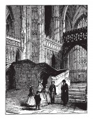 Transept of the Martyrdom at Canterbury Cathedral which is the area set crosswise to the nave in a cruciform building in Romanesque vintage line drawing or engraving illustration
