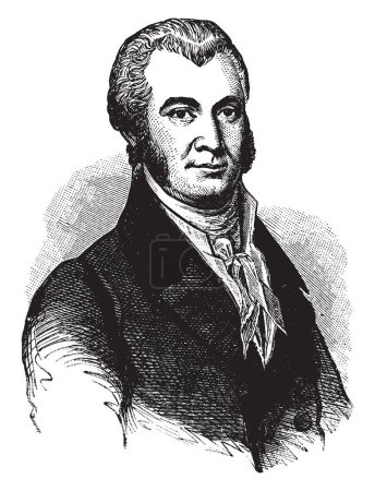 James Asheton Bayard, 1767-1815, he was an American lawyer, politician and a member of the federalist party, he served as U.S. Representative and U.S. Senator from Delaware, vintage line drawing or engraving illustration