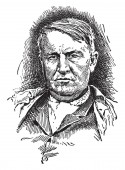 Thomas Alva Edison 1847-1931 he was an American inventor businessman and one of the first inventors to apply the principles of mass production vintage line drawing or engraving illustration