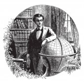 Edwin J. Houston is the professor of Physical Geography, teacher, professor, electrical engineer, inventor, author, vintage line drawing or engraving illustration.