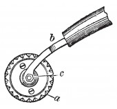 This illustration represents Bookbinder Roller which is used to bind books vintage line drawing or engraving illustration