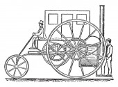 Side View of 1802 Trevithick Steam Carriage is operated by a steam engine in the back rotating the wheels vintage line drawing or engraving illustration