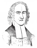 Jonathan Edwards 1703-1758 he was an American revivalist preacher philosopher and Congregationalist protestant theologian vintage line drawing or engraving illustration