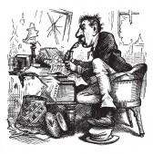 Bennett contemplates attacks on Grant vintage line drawing or engraving illustration