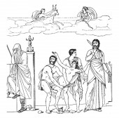 A picture of King Agamemnon sacrificing his daughter Iphigenia to appease the wrath of the goddess Artemis. The girl is dragged to the altar by a pair of soldiers, vintage line drawing or engraving illustration.