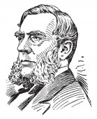 Edwin Morgan, 1811-1883, he was the 21st governor of New York from 1859 to 1862 and United States senator from 1863 to 1869, vintage line drawing or engraving illustration
