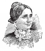 Lucy Webb Hayes 1831-1889 she was the nineteenth First Lady of the United States vintage line drawing or engraving illustration