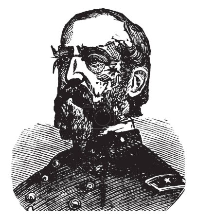 General George Meade, 1815-1872, he was a United States army officer, union general and civil engineer involved in the coastal construction of several lighthouses, vintage line drawing or engraving illustration