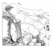 An image of Frey sitting on Odin's Throne While sitting he saws Gerda a giantess and falls in love with her vintage line drawing or engraving illustration