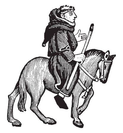 Illustration pour The Friar from Chaucer's Canterbury Tales, cette photo montre The Friar chevauchant à cheval et tenant un bâton dans la main droite, dessin à la ligne vintage ou illustration de gravure - image libre de droit