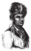Joseph Brant (Thayendanegea) 1743-1807 he was a Mohawk military and political leader vintage line drawing or engraving illustration