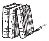 Three books or standing upright Book Series  vintage line drawing or engraving illustration