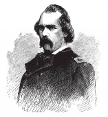 General Edwin V. Sumner, 1797-1863, he was a career United States army officer and union army general, vintage line drawing or engraving illustration