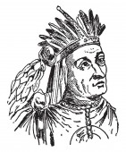 Atahualpa, 1502-1533, he was the  ruler of Quito for five years and thirteenth Incan emperor, vintage line drawing or engraving illustration