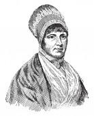 Elizabeth Fry 1780-1845 she was an English prison reformer social reformer Quaker and Christian philanthropist vintage line drawing or engraving illustration