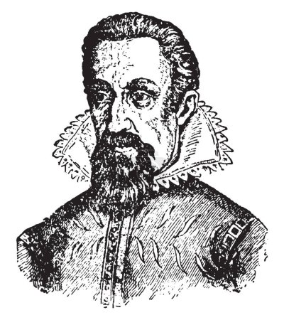 Johannes Kepler, 1571-1630, he was a German mathematician, astronomer, and astrologer, vintage line drawing or engraving illustration