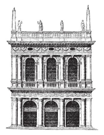 Old Library of St. Mark at Venice, Next in order are the productions of Jacopo Tatti, architect was educated in the Florentine school, afterwards proceeded to Rome, vintage line drawing or engraving illustration.
