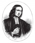 John Wesley 1703-1791 he was an English Anglican cleric and theologian vintage line drawing or engraving illustration