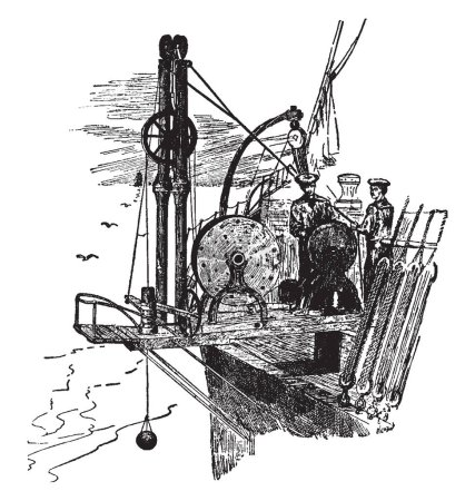 Sounding Machine is an instrument for measuring the depth of water consisting essentially of a reel of wire, vintage line drawing or engraving illustration.