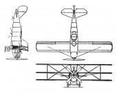 Curtis Model 18 I Triplane has a 400 horsepower K 12 engine vintage line drawing or engraving illustration