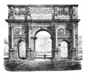 Arch of Constantine  is a triumphal arch in Rome the largest Roman triumphal arch vintage line drawing or engraving illustration