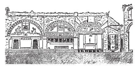 Bains de Pompéi, architecture romaine, éruption du Vésuve, conduit dans le vestiaire, dessin à la ligne vintage ou illustration de gravure .