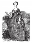 Martha Washington 1731-1802 she was the 1st first lady of the United States of America vintage line drawing or engraving illustration