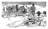 Princess Nelly and the Seneca Chief, this scene shows a man standing in boat and two men driving boat and going towards the shore, people are waiting for him at the shore, vintage line drawing or engraving illustration