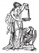 This is beautiful picture of the Greek goddess along with the eagle In Greek mythology she is believed to be known as Hebe the cupbearer for the gods vintage line drawing or engraving illustration