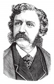 Francis Bret Harte 1836-1902 he was an American short story writer and poet famous for his short fiction featuring miners gamblers and other romantic figures of the California Gold Rush vintage line drawing or engraving illustration