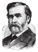 William R Morrison 1824-1909 he was a US representative from Illinois vintage line drawing or engraving illustration