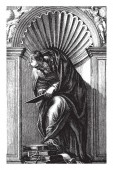 Diogenes can be now be found in The Library of St Mark in Venice vintage line drawing or engraving illustration