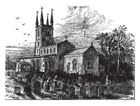 Lutterworth is a market town parish in the Harborough district of Leicestershire. the religious reformer Canon John Wycliffe was rector in Lutterworth's parish church of St Mary between 1374 and 1384, vintage line drawing or engraving illustration.