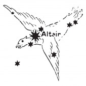 Altair is the brightest star in this group of stars and one of the nearest bare eye stars to Earth at a separation of 17 light-years Its name originates from the Arabic vintage line drawing or engraving illustration