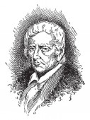 Daniel Boone 1734-1820 he was an American pioneer explorer frontiersman and one of the first folk heroes of the United States famous for his exploration and settlement vintage line drawing or engraving illustration