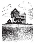 The image shows the house which has leaf less trees This is a two story building vintage line drawing or engraving illustration