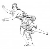 This picture is showing Daphne. In Greek mythology, it is believed that Daphne is the daughter of the river god Peneus, vintage line drawing or engraving illustration.