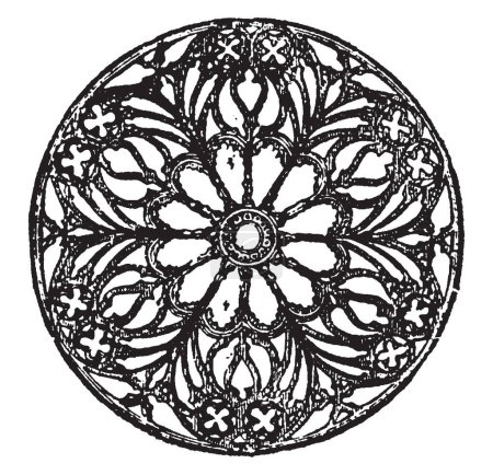 Rose Window is divided into compartments by mullions is radiating in a form suggestive of a rose, applied to a circular window, vintage line drawing or engraving illustration.