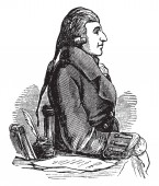 John Howard 1726-1790 he was a philanthropist and early English prison reformer vintage line drawing or engraving illustration