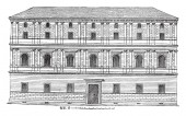 Giraud Palace at Rome, Rome are the Cancelleria Palace,  the Church of San Lorenzo in Damaso contained,  Palazzo Castellesi Giraud Torlonia, vintage line drawing or engraving illustration.
