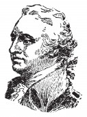 Anthony Wayne 1745-1796 he was a United States army officer statesman and brigadier general vintage line drawing or engraving illustration