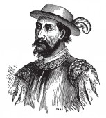 Ponce de Leon who is a Spanish soldier governor of Porto Rico and explorer, vintage line drawing or engraving illustration.