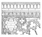 Transept Carving  transept of Notre Dame Our Lady of Chartres exercised a strong influence  subsequent development of gothic portal design  vintage line drawing or engraving illustration