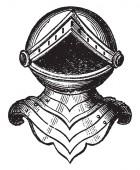 Helm of Baronet is a standing affront vintage line drawing or engraving illustration