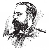John Philip Sousa 1854-1932 he was an American composer and conductor of the late Romantic era vintage line drawing or engraving illustration