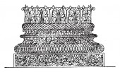Corinthian Base  in the Baptistery of Constantine  Roman architecture  its offshoot the Composite vintage line drawing or engraving illustration