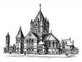 This is a building that is located in New York at Wesley Chapel on John Street vintage line drawing or engraving illustration
