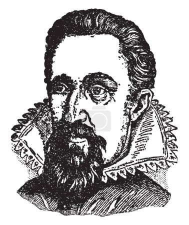 Johann Kepler, 1571-1630, he was a German mathematician, astronomer, and astrologer, vintage line drawing or engraving illustration