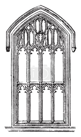 Mullions is window with upright bars, vertical bar between the panes, dividing adjacent window units, vintage line drawing or engraving illustration.